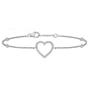 Diamond Heart Bracelet in 9ct White Gold