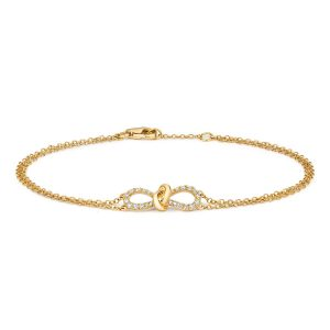 Diamond Bow Bracelet 18ct Yellow Gold