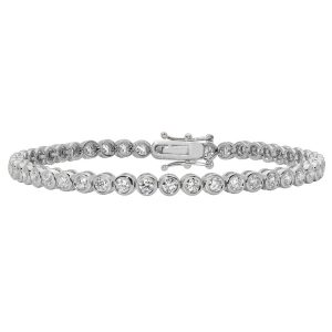 Diamond Rubover Tennis Bracelet in 18ct White Gold (variations)
