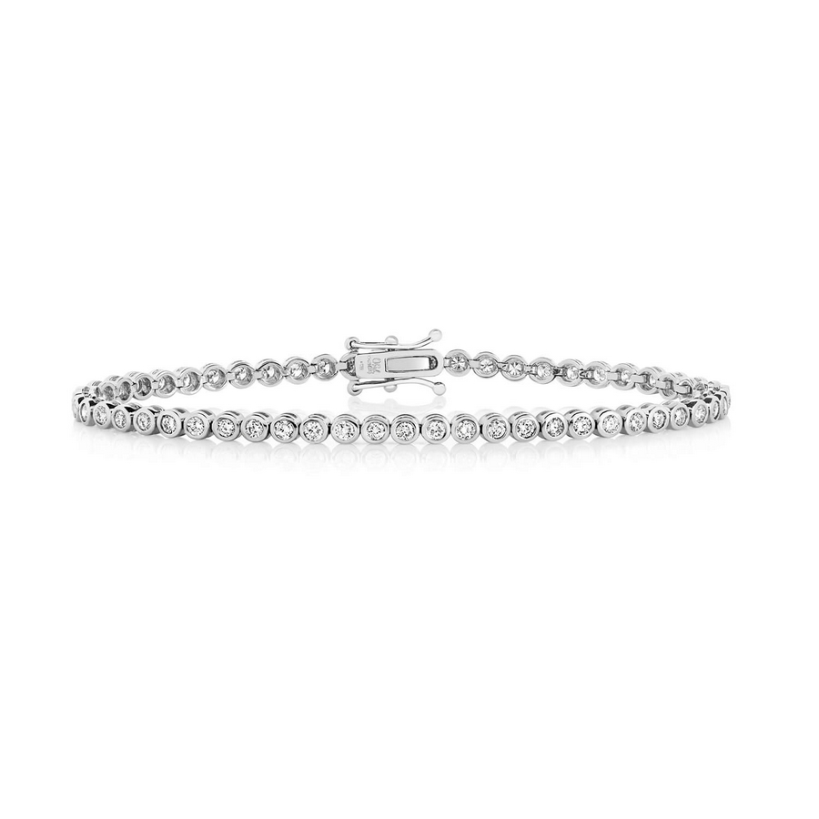 Diamond Rubover Tennis Bracelet in 18ct White Gold