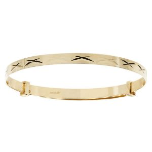 Babies' 9ct Yellow Gold Expandable Bangle with Kisses Motif