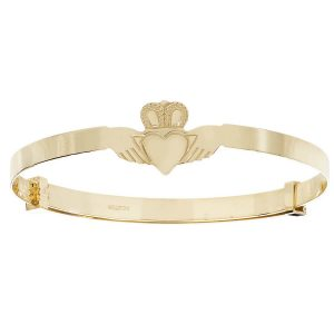 Babies' 9ct Yellow Gold Expandable Claddagh Bangle