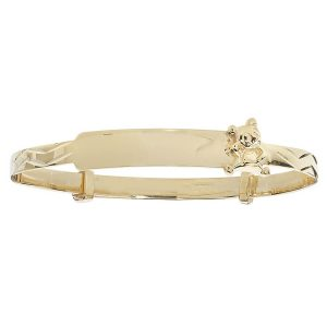 Babies' 9ct Yellow Gold Expandable ID Bangle with Teddy Bear Motif