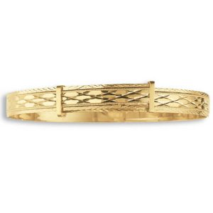 Ladies' Diamond Cut Expandable Bangle in 9ct Yellow Gold