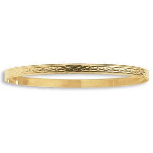 Ladies' 4.5mm Diamond Cut Slave Bangle in 9ct Yellow Gold