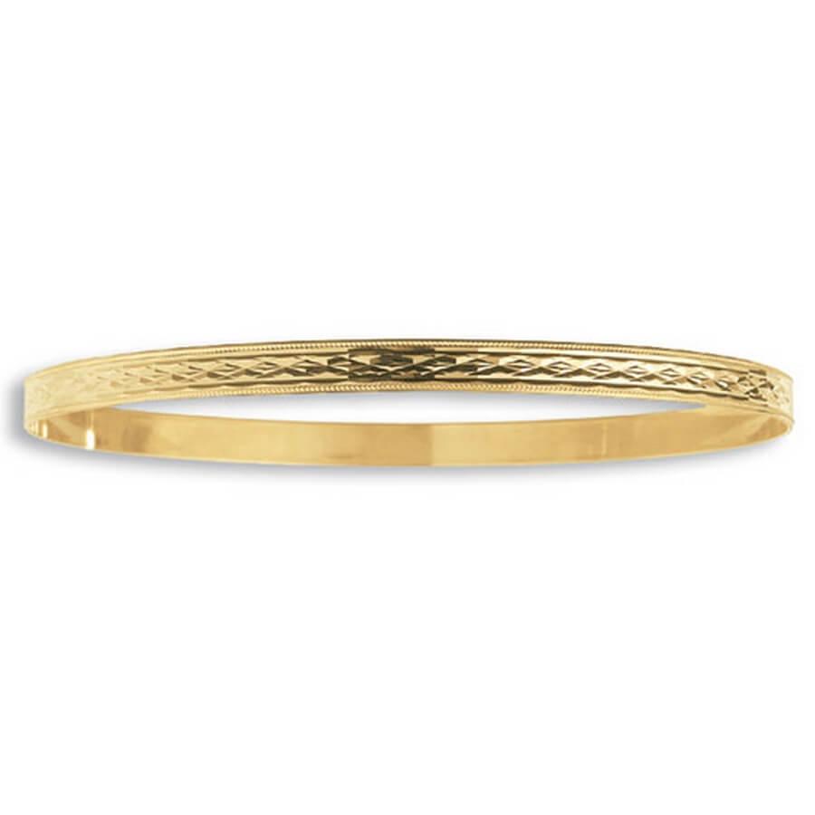Ladies' 4.5mm Diamond Cut Slave Bangle in 9ct Yellow Gold