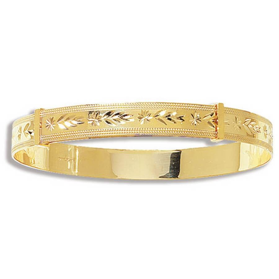 Ladies' 7.5mm Diamond Cut Expandable Bangle in 9ct Yellow Gold