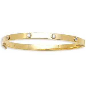 Ladies' 6mm CZ Bangle in 9ct Yellow Gold