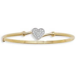 Ladies' CZ Set Heart Bangle in 9ct Yellow Gold