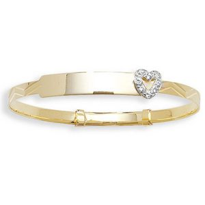 Babies' 3mm Expandable CZ Set ID Bangle in 9ct Yellow Gold
