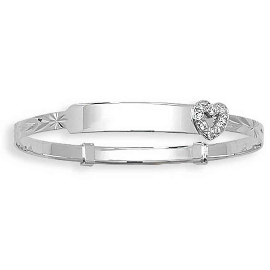 Babies' 3mm Expandable CZ Set ID Bangle in 9ct White Gold