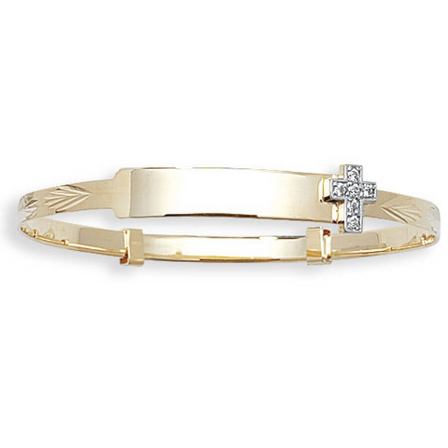 Babies' 3mm Expandable CZ Cross Set ID Bangle in 9ct Yellow Gold