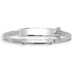 Babies' 3mm Expandable CZ Cross Set ID Bangle in 9ct White Gold