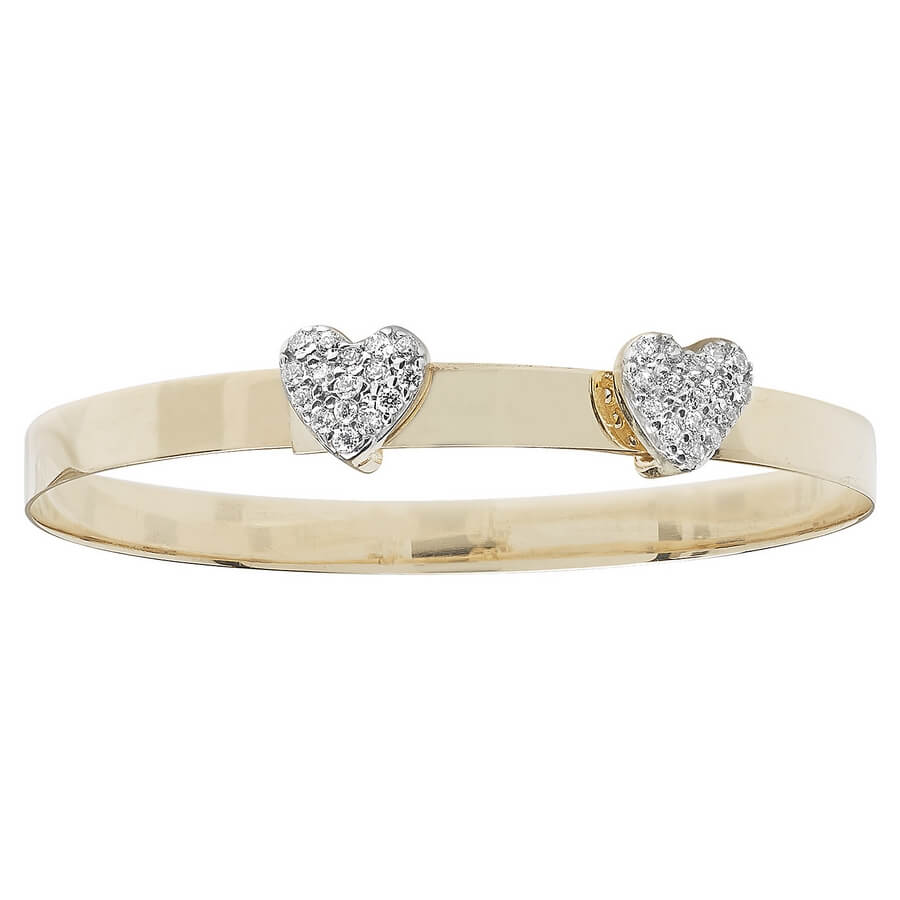 Babies' 4mm CZ Set Double Heart Expandable Bangle in 9ct Yellow Gold