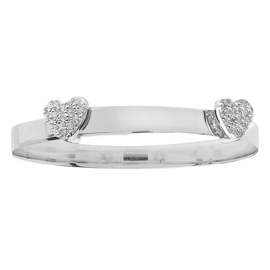 Babies' 4mm CZ Set Double Heart Expandable Bangle in 9ct White Gold