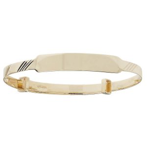 Babies' 3mm Diamond Cut Expandable ID Bangle in 9ct Yellow Gold
