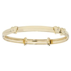 Babies' 4mm Expandable Bangle in 9ct Yellow Gold with Double Heart Adornment
