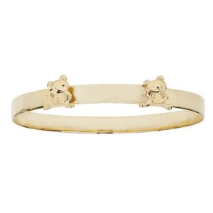 Babies' 4mm Expandable Bangle in 9ct Yellow Gold with Teddy Bear Adornment