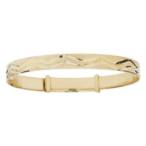 Babies' 5mm Diamond Cut Patten Bangle in 9ct Yellow Gold