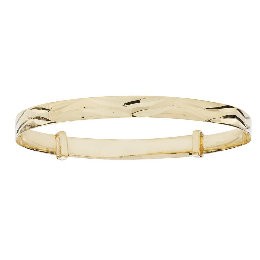 Babies' 4mm Diamond Cut Wave Patten Bangle in 9ct Yellow Gold