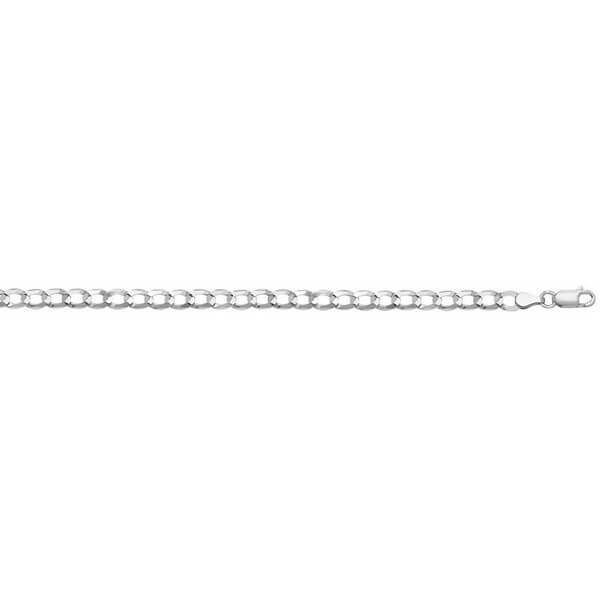 9ct White Gold Flat Bevelled Curb Chain Lengths 7 to 24 inches