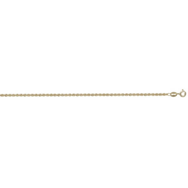 9ct Yellow Gold Rope Chain Lengths 7 to 24 inches