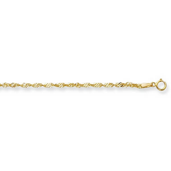 9ct Yellow Gold Singapore Ankle Chain Lengths 10 to 24 inches