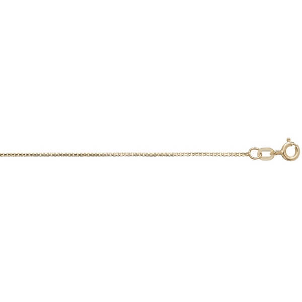 9ct Yellow Gold Box Chain Lengths 16 to 24 inches