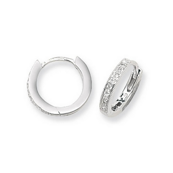 Diamond Set Small Hooped (Huggies) Earrings in 9ct White Gold (0.10ct)