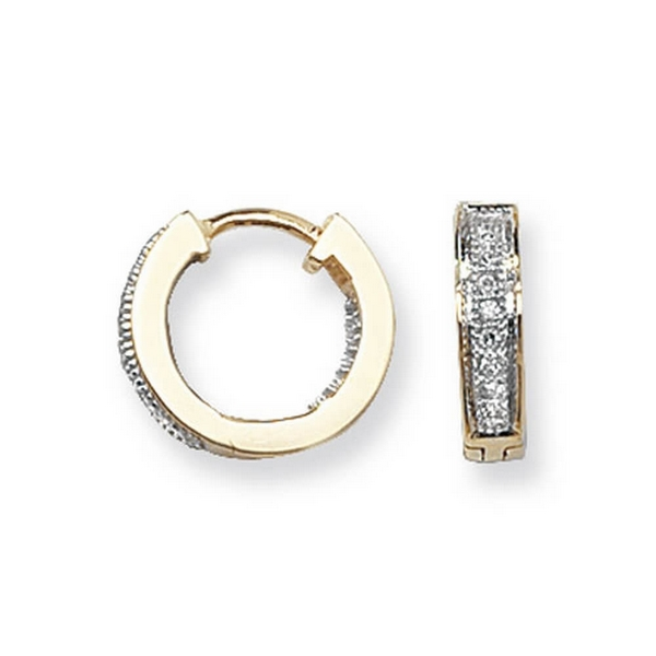 Diamond Set Small Hooped (Huggies) Earrings in 9ct Yellow Gold (0.09ct)