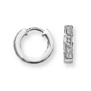 Diamond Set Small Hooped (Huggies) Earrings in 9ct White Gold (0.09ct)