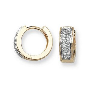 Diamond Set Small Hooped (Huggies) Earrings in 9ct Yellow Gold (0.15ct)