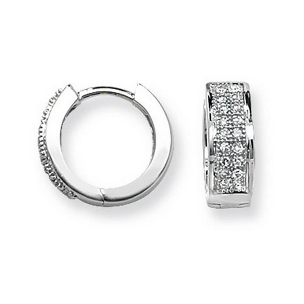 Diamond Set Small Hooped (Huggies) Earrings in 9ct White Gold (0.15ct)