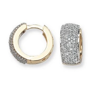 Diamond Set Small Hooped (Huggies) Earrings in 9ct Yellow Gold (0.76ct)