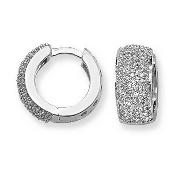 Diamond Set Small Hooped Huggies Earrings In 9ct White Gold 0 76ct