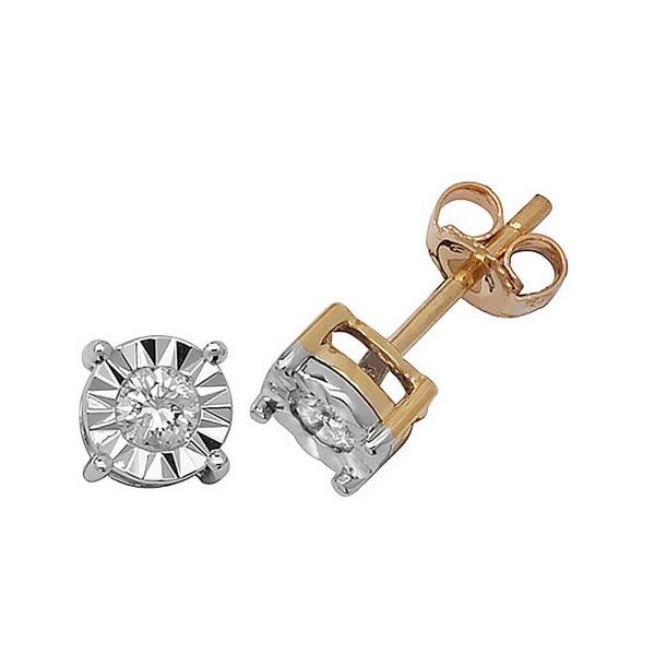 Illusion Set Diamond Stud Earrings in 9ct Yellow Gold (0.25ct)