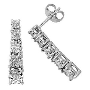 Illusion Set Diamond Drop Earrings in 9ct White Gold (0.10ct)