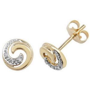 Diamond and Gold Swirl Stud Earrings in 9ct Yellow Gold (0.18ct)