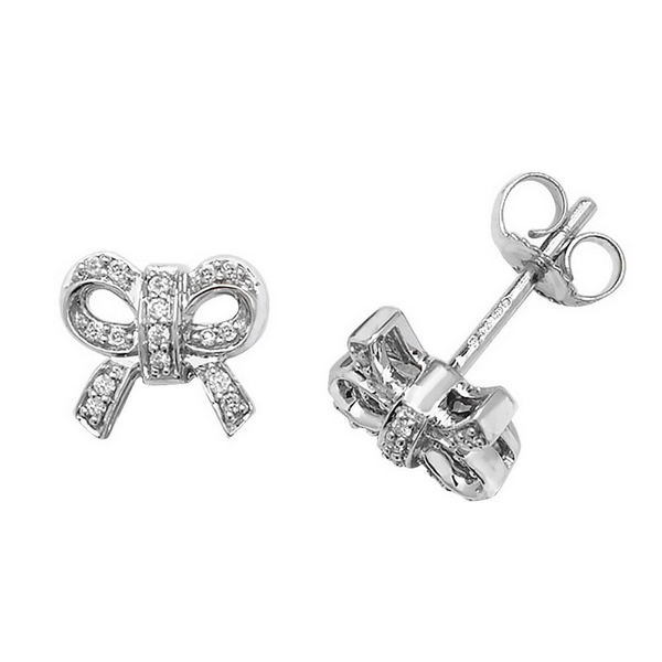 Diamond Set Bow Shaped Stud Earrings In 9ct White Gold 0 10ct