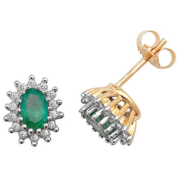 Emerald and Diamond Cluster Earrings in 9ct Yellow Gold