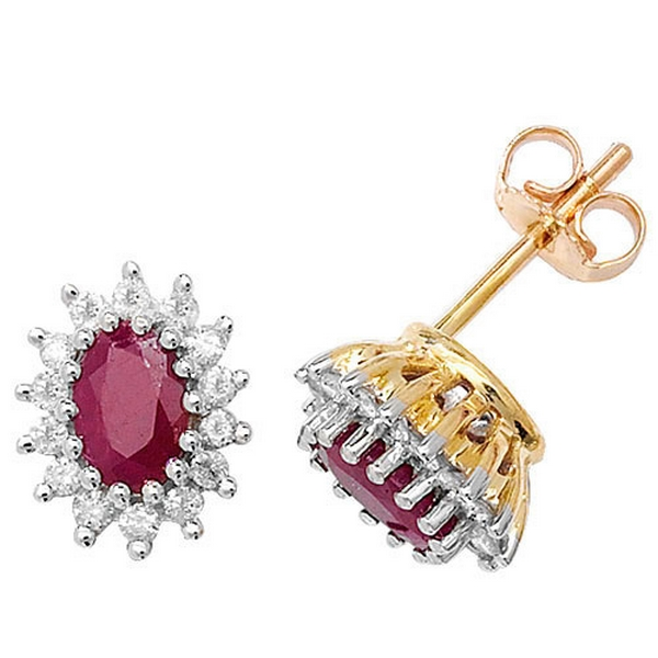 Ruby and Diamond Cluster Earrings in 9ct Yellow Gold