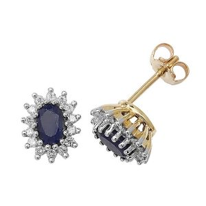 Sapphire & Diamond Cluster Earrings in 9ct Yellow Gold