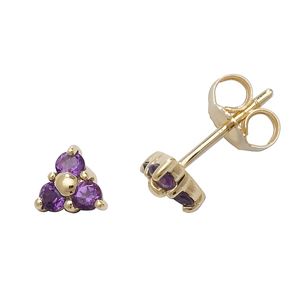Amethyst Three Stone Stud Earrings in 9ct Yellow Gold