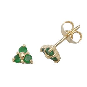 Emerald Three Stone Stud Earrings in 9ct Yellow Gold