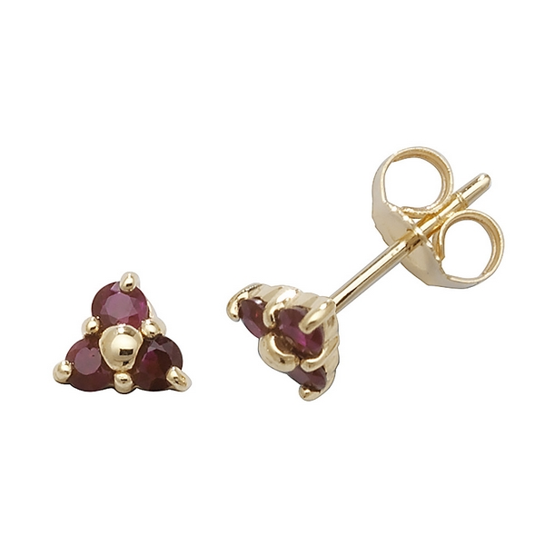 Ruby Three Stone Stud Earrings in 9ct Yellow Gold