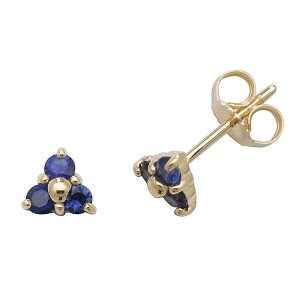 Sapphire Three Stone Stud Earrings in 9ct Yellow Gold
