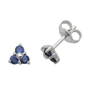 Sapphire Three Stone Stud Earrings in 9ct White Gold