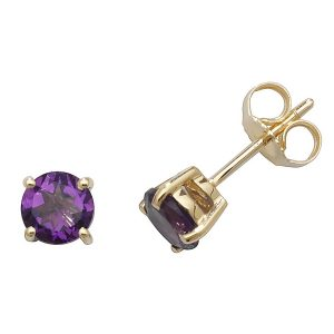 Solitaire Round Amethyst Stud Earrings in 9ct Yellow Gold