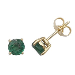Solitaire Round Emerald Stud Earrings in 9ct Yellow Gold