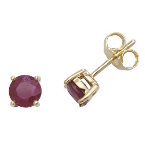Solitaire Round Ruby Stud Earrings in 9ct Yellow Gold